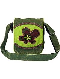 Guru-Shop Kleine Schultertasche, Hippie Tasche, Goa Tasche - Grün, Herren/Damen, Baumwolle, 18x16x4 cm, Alternative Umhängetasche, Handtasche aus Stoff
