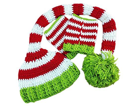 Imagen de deley bebé crochet tejer navidad elf largas colas pompón sombrero de disfraz infantil ropa photo props de 0 6 meses alternativa