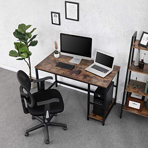 VASAGLE Vintage Schreibtisch Computertisch, PC-Tisch für BüRotisch, mit 2  Regalebenen auf der rechten oder linken Seite, Arbeitstisch fürs Büro, ...