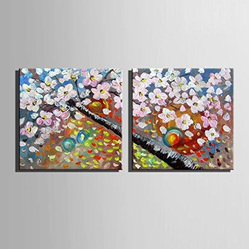 Kirschblüten 100% handbemalt Home Decor Peinture à l'huile Wall Art Decor Un dessin décoratif mur...
