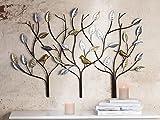 Relief 3 Bäume m. Vögeln metall braun silber/goldene Blätter u. Vögel B 104 cm, Wandobjekt