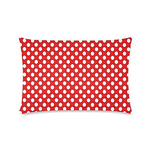 Rot Weiß Polka Dot Rechteck Sofa Home dekorativer Überwurf-Kissenbezug Baumwolle Polyester Twin Seite Druck 40,6x 61cm (Monster-truck-plüsch Werfen)