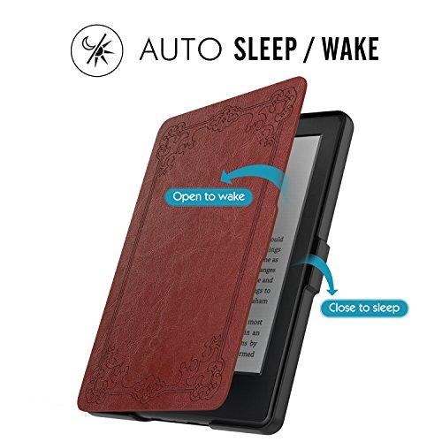 MoKo Étui de protection pour Kindle (8ème génération - modèle 2016) - étui Flip en cuir super fin et léger avec Auto Réveil / Veille pour Amazon Toute nouvelle Liseuse Kindle, Noir StyleVintage