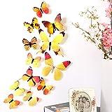 3D Schmetterlinge Wandaufkleber, DingLong Magnet Wanddeko Aufkleber Abziehbilder Wohnaccessoires Wohnzimmer Dekoartikel (Gelb)
