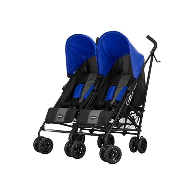 Obaby Apollo Twin Stroller (Blue) Obaby Suitable from birth to a maximum weight of 15kg Independently adjustable multi position seat units Independently adjustable hoods 1
