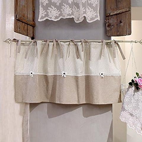 Vorhang Gardine Scheibengardine Bistrogardine Landhaus Shabby Chic - Spitze - 140x60 - Creme / Beige - 100%