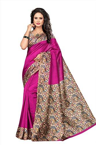 Winza Designer Silk Saree With Blouse Piece (KALAMKARI-K50_Beautiful Pink_Free)