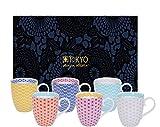 Tokyo Design Studio, Star Wave, 6er Tassen-Set mit Henkel in dekorativer Geschenkbox, 10.2 cm, Ø 8.5cm, 380 ml, Porzellan