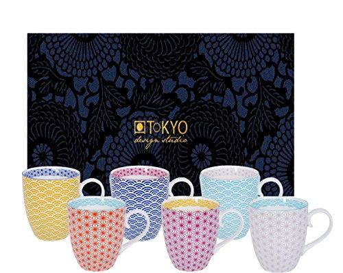 Tokyo Design Studio, Star Wave, 6er Tassen-Set mit Henkel in dekorativer Geschenkbox, 10.2 cm, Ø...