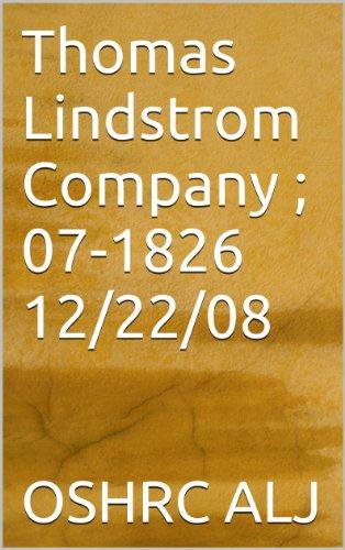 Thomas Lindstrom Company ; 07-1826  12/22/08