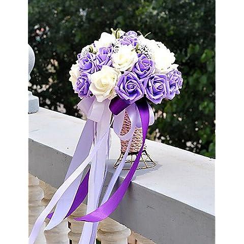 kiuytghnb morado y blanco boda ramo PE tela de seda boda novia Holding Flores Edredón