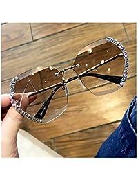 HGGH 2020 de Gran tamaño Moda Vintage sin Montura Gafas de Sol de Las Mujeres Diamante Cuadrado de los vidrios de Sun for la Hembra (Lenses Color : Random Color)