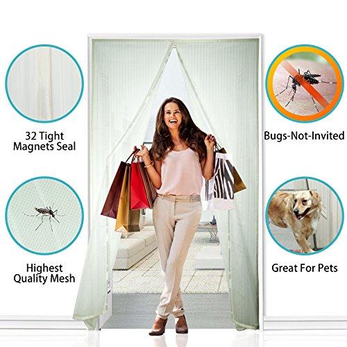 Apalus® zanzariera magnetica per porte - rete super fine, dimensioni 140 x 240cm (per porte misura max 140x240cm), totalmente magnetica, si chiude da sola, impedendo agli insetti di entrare (col. bianco)