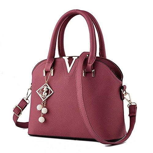 HQYSS Borse donna Gli stereotipi coreano OL pendolari donne croce corpo tracolla Messenger Handbag , purple taro wine red