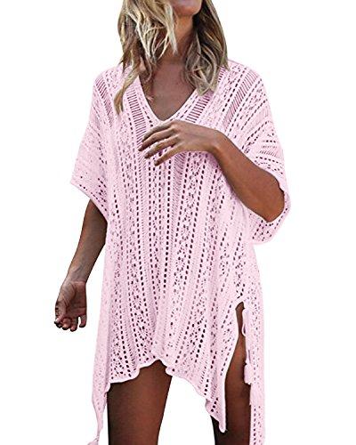kenoce Damen Strandkleid Bikini Cover-Ups Sommer Gestrickte Asymmetrisch Strandurlaub Strandponcho Badeanzug Oversize Rosa Einheitsgröße (Badeanzug Cover Ups Für Frauen)