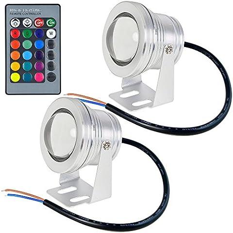 2pz MENGS® 10W subacquea piscina / fontana RGB LED impermeabile IP68 luce + ir punto remot
