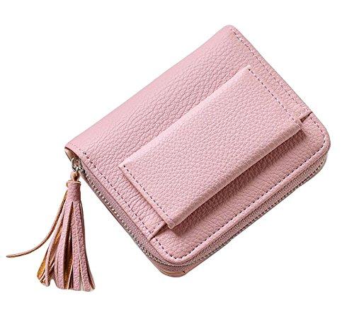 Ylen Damen Kleine Leder Geldbörse Kartenhalter Mädchen Münze Portemonnaie Kurz Geldbeutel mit Reißverschluss (Geldbörse Kleine Mädchen)