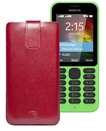 Original Favory Etui Tasche für / Nokia 215 Dual SIM / Leder Etui Handytasche Ledertasche Schutzhülle Case Hülle Lasche mit Rückzugfunktion* in Rot