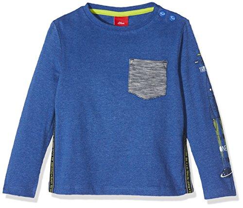 s.Oliver Baby-Jungen Langarmshirt 65.711.31.7791, Blau (Blue Melange 55W0), 80