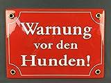 Wetterfestes Emaille Schild Warnung vor den HUNDEN 17x12 cm wetterfest und lichtecht Emailleschild