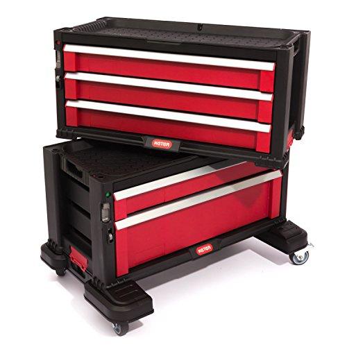Keter 5 Drawer Tool Chest Set Acetal Slides, 1 Stück, schwarz / rot / silber, 17199301 - 3