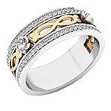Dazzlingrock Collection - Anillo de boda de oro rosa con diamantes blancos de...