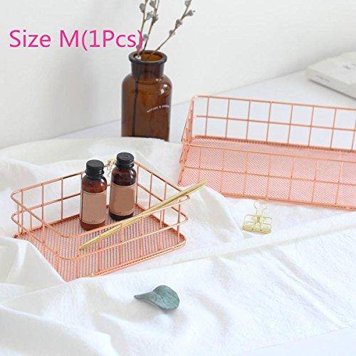 Caveen Moderner Drahtkorb aus Kupfer in Roségold-Farbe, geeignet für Küche, Schlafzimmer. Badezimmer (17x 12x 6cm), metall, M Magazine Korb