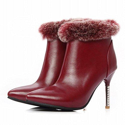 MissSaSa Donna Scarpe col Tacco Alto Sexy e Elegante Stivali Inverno Rosso scuro