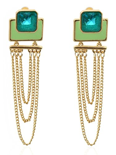 Crunchy Fashion Stylish Party Wear ColorRush Verdant Multilayer Dangler Earring For Girls