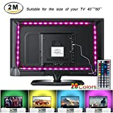 LED TV Backlight Strip Lights, 2M/6.56ft USB Powered RGB Multi-Color Bias Lighting Kit with Remote Control for 40 To 60 Inch HDTV, Desktop PC Monitor