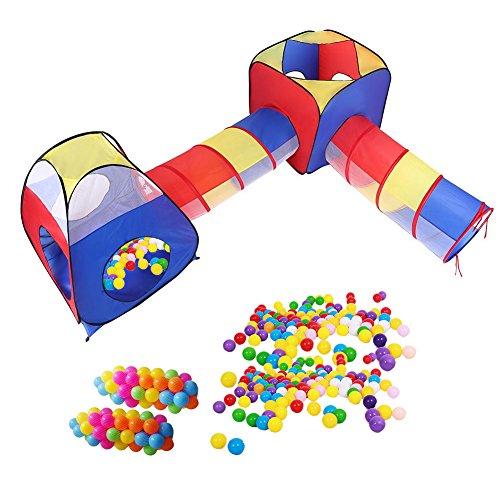 Greensen Kinder Baby Zelt Spielzelt mit Krabbeltunnel Kinderspielzelt Spielhaus Mit Tunnel Bällebad 100 Bälle Faltbar Spielhaus Kinderzelt mit Reißverschluss Bällebad Ideal für Zuhause und im Garten