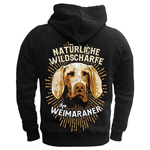 Männer und Herren Kapuzenpullover Weimaraner - natürliche Wildschärfe (mit  Rückendruck) schwarz/gelbe Kapuze