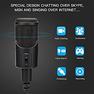 Desktop Condenser Microphone,USB Plug & Play Recording Podcast Microphone with Stand for PC/Computer Recording Skype,YouTube, Google Voice Search, Games(Windows/Mac) Live Broadcasting
