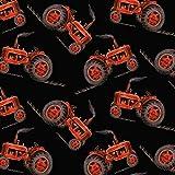 Traktor Stoff–Traktoren auf Schwarz–bla61–0,5Meterware–von blanko Textilien–100% Baumwolle