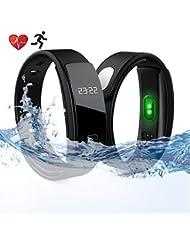 Fitness Tracker Armbanduhr mit Bluetooth Blut Druck Herzfrequenz Monitor Armbandes, wasserdicht IP67 Schrittzähler Smart Watch für Android iOS, schwarz