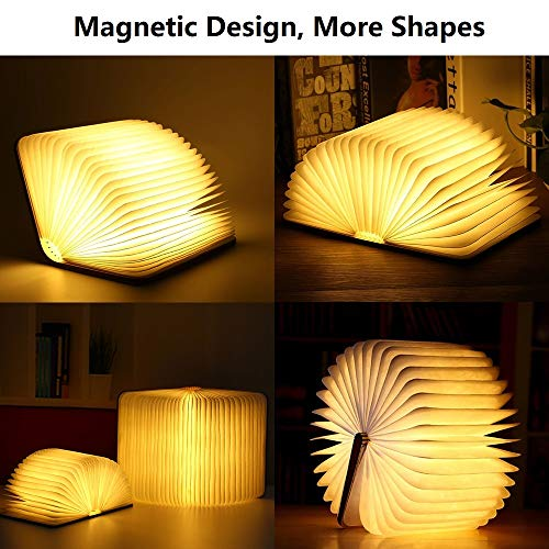 Wooden Folding Book Lamp, Magnetic LED Light, Decorative Lights, Table/Desk Lamp with 880 mAh Rechargeable Battery, Bright Enough for Reading, Ideal for Gift