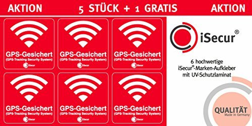 '5 Units Stickers Alarm, GPS, isecur, alarmgesichert, 40 x 40 mm, Art. Hin 069 _ Exterior, Note to GPS Copy, außenklebend for Windows, Cars, Motorcycles, Trucks, construction vehicles