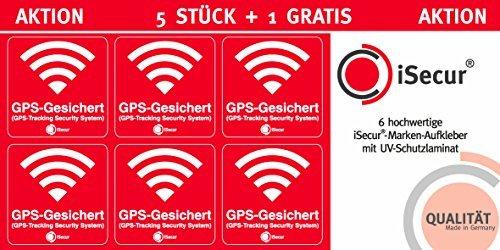 5 Stück Aufkleber Alarm, GPS, iSecur®, alarmgesichert, 40x40mm, Art. hin_388 außen, Hinweis auf GPS-Sicherung, außenklebend für Fensterscheiben, Auto, Motorrad, LKW, Baumaschinen Alarm-aufkleber