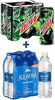 Mountain Dew Soft Drink 6 x 355 ml + Aquafina Water 6 x 500 ml