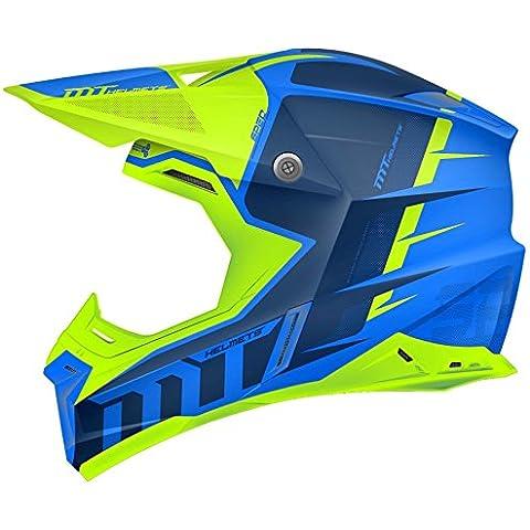 MT–Casco Cross Synchrony Spec Gloss Blu e Verde Fluo M Azul y Verde