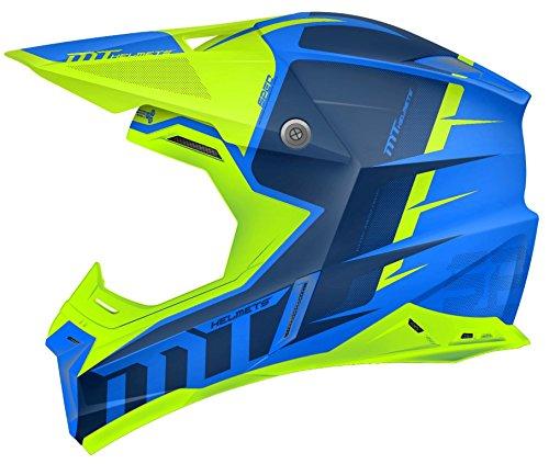 MT Casque de moto-cross Synchrony Spec Gloss Bleu/vert fluo XS Bleu et vert