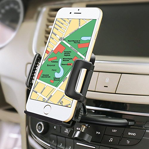 iVoler Universal Soporte Móvil Coche para Ranura de CD de Coche con 360°Rotación Sostenedor para télefono móvil, iPhone 7/7 Plus/6S/6s Plus/6/6 Plus/5S/5C/SE/4s, Samsung, Motorola, Sony, Huawei P9 Lite, Xiaomi, GPS, MP3 Player y más Ancho de 50-95 mm