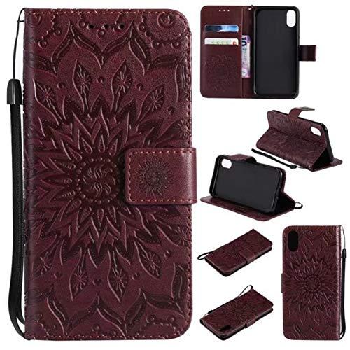HANSHUO Telefon-Kasten Sonnenblume Geprägte Flip Leder Anzug Tasche Telefon Fall für iPhone XR XS MAX 10 Abdeckung für iPhone X 7 8 6 6 S Plus 5 5S SE - Flip-telefon Fall Iphone