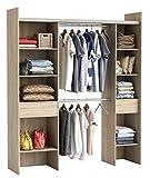 habeig Kleiderschrank Sonoma-Eiche 3002 offen BEGEHBAR Regal Schrank Garderobe