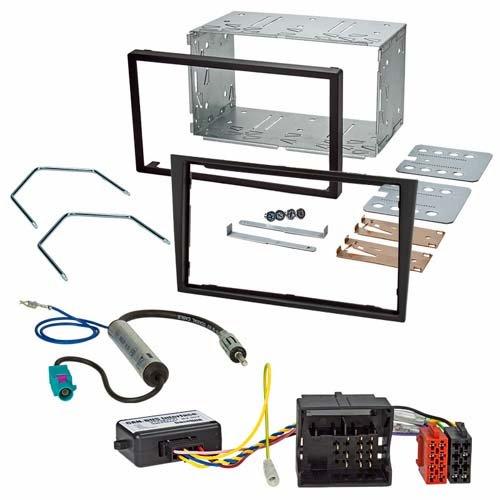 Einbauset (Radioblende schwarz mit Einbauschacht + CAN-Bus Interface + Radioadapter) passend für OPEL Astra H Zafira B Corsa D Tigra Antara