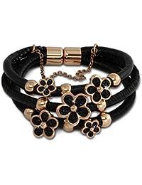 Amello Armband aus schwarzem Leder mit Edelstahl Magnet Verschluss - Lederarmband Blüte rosevergoldet - LAQ017S9