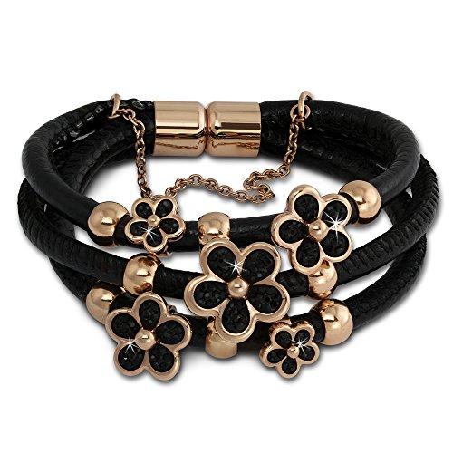 Amello Armband aus schwarzem Leder mit Edelstahl Magnet Verschluss - Lederarmband Blüte rosevergoldet - 21cm LAQ017S1 (Armband Mit Magneten)