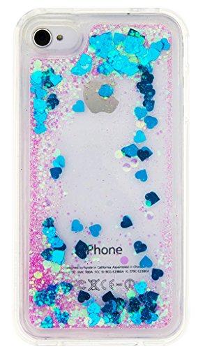 "Nnopbeclik [Coque Iphone 4 Silicone] Paillettes Briller Style Backcover Doux Soft ""Transparente"" Housse pour Iphone 4 Coque Silicone (3.5 Pouce) Antichoc Protection Antiglisse Anti-Scratch Etui - [Ble bleu1"
