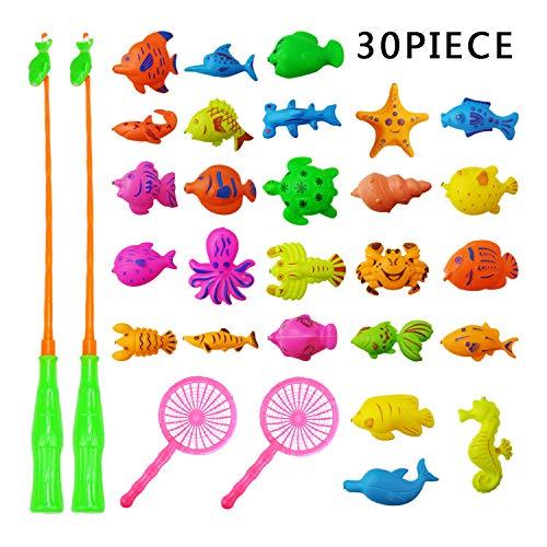 Fullsexy Badespielzeug, 30 Stück Angeln Badewannenspielzeug, Magnetisches Schwebendes Spielzeug für Badewanne Bad, Pool, Sand, Strand, Badespaß für Kinder, Wasserspielzeug für Baby MEHRWEG