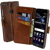 Huawei P10 Lite | Suncase Book-Style (Slim-Fit) Ledertasche Leder Tasche Handytasche Schutzhülle Case Hülle (mit Standfunktion und Kartenfach) burned - cognac